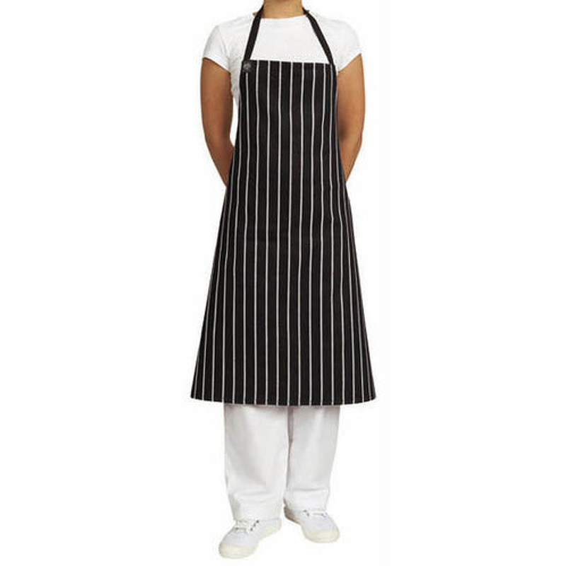 Deluxe Chefs Bib BLKWHT STRIPE