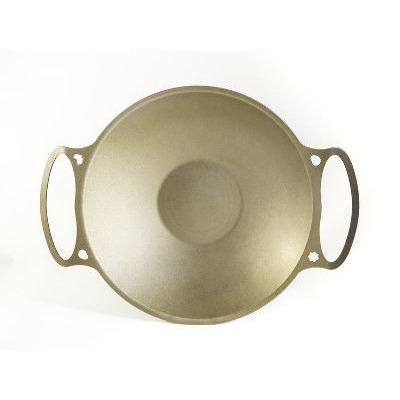 35cm 14 Dual Handle Wok flat bottom 25mm steel