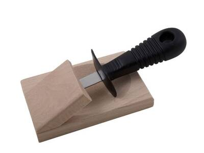 Oyster Knife w/wood block Black